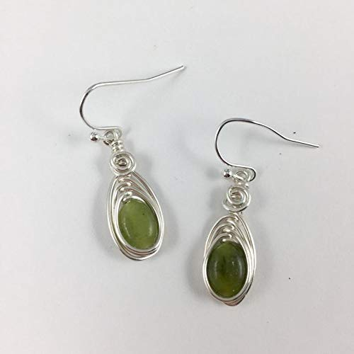 Connemara Marble Drop Earrings, Silver Celtic Jewelry for Women, Ireland Gemstone, Handmade