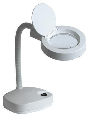 Flexo lupa de mesa con una lupa de 3 dioptrias y Ø 90 mm bifocal de 8 dioptrias y Ø 25 mm con 60 Leds