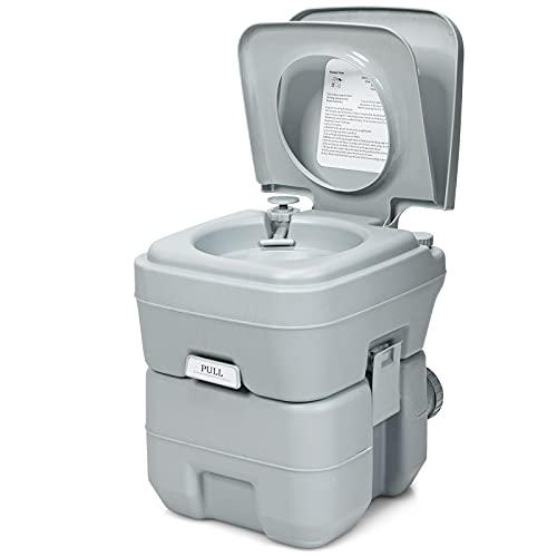 COSTWAY 20L + 12L Campingtoilette mit abnehmbarem Abwassertank, Campingklo tragbar, Reisetoilette, Mobile Toilette für Reise, Camping und Wohnmobil (Grau)