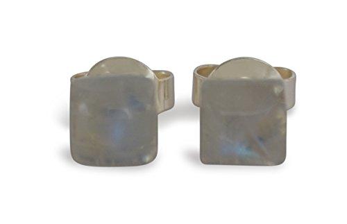 Månsten stiftörhängen, naturliga, fyrkantiga, platt baksida, 5x5 mm, 925 silver