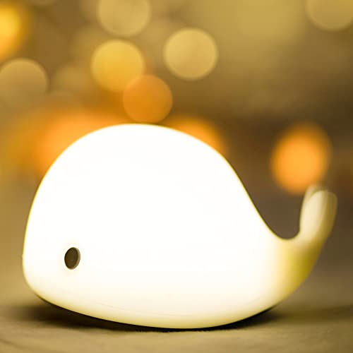 Kids Baby Night Light with 7 LED Colors Changing, Night Light USB Rechargeable, Tap Control, Whale...