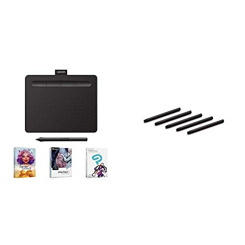 Wacom Intuos Graphics Drawing Tablet with 3 Bonus Software Included, 7.9'x 6.3', Black (CTL4100) & ACK20001 Standard Nibs