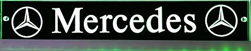 LED-Leuchtschild mit Mercedes-Stern Logo, 60x10 cm ✓ Ideale Geschenkidee ✓ Lasergraviert | Edles LED-Schild als Truck-Accessoire | Beleuchtetes Mercedes Stern Schild für den 12/24Volt-Anschluss