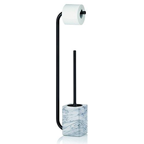 kela 20031 Set WC Support Papier Toilette + Brosse, métal Noir et marbre Blanc, Varda, 18x11,5x71,5 cm