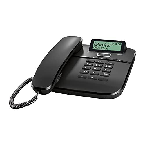 Gigaset DA611 - Schnurgebundenes Telefon mit Freisprechfunktion - Telefonbuch mit VIP-Kennzeichnung - Kurzwahl-Einträge - Anrufanzeige (CLIP) - Anrufliste - Tastensperre, schwarz