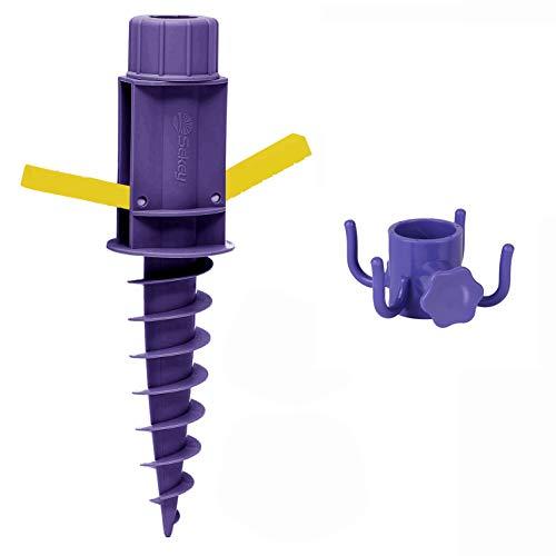 Sekey Parasollhållare | golvpluggar | strand eller jord med golvpluggar och upphängningskrokar för paraplystänger upp till 22–32 mm, lila