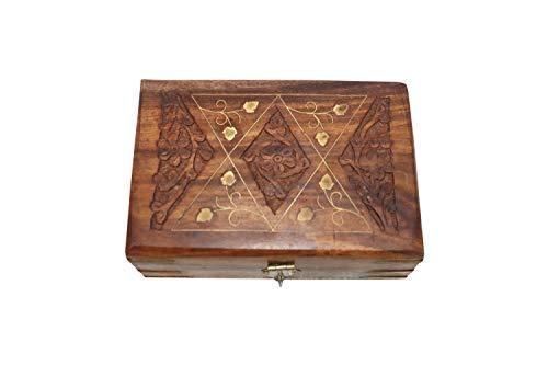 NK GLOBAL Caja de madera decorativa Cajas antiguas grabadas a mano Decoración para el hogar Cosmética, joyería, organizador de piedra y almacenamiento Hombres Mujeres Regalos