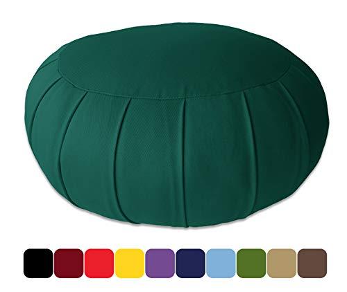 Blue Banyan Zafu Cuscino Meditazione, Cuscino di Supporto (Quallofil) - Verde Bosco