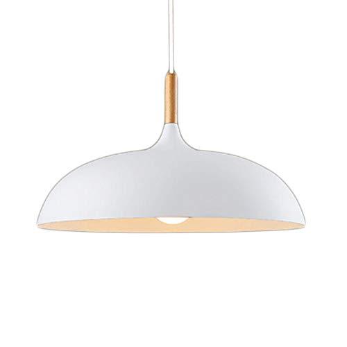Modern Lampada A Sospensione Lampadario Lampada a sospensione lampada da soffitto illuminazione 1X E27, sopra in legno naturale e bianco metallo