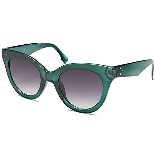 SOJOS Retro Vintage Oversized Cateye Women Sunglasses Designer Shades HOLIDAY SJ2074, Green/Grey