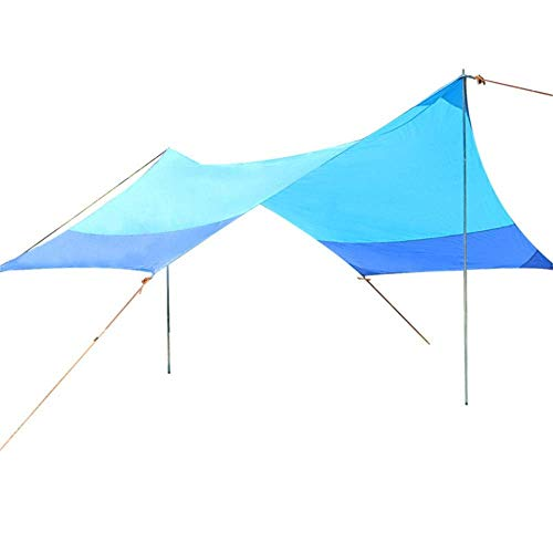 Nuokix Hammocks, Family Tent 13.8x11.5 Feet Waterproof Tarp Shelter Sunshade Hammock Rain Fly Tent With Stakes Poles Ropes Survival Gear Kit For Camping Backpacking Fishing Outdoor Tent Outing Campin