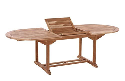 Möbilia - Mesa de jardín ovalada (180 x 120 cm, extensible, madera de teca, 180 x 100 x 75 cm), color natural