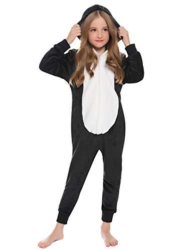 Hawiton Disfraces Pijama Unisexo Onesies con Capucha, Manga Larga Forro Polar Jumpsuit niña niño Ropa para Dormir una Pieza otoño Invierno 2-10 años
