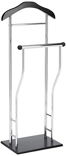 Haku Möbel soporte de valet acero tubular cromado negro, altura 110 cm
