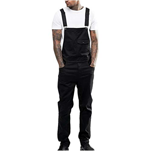 iYYVV Mens Overall Jeans Wash Work Jumpsuit Streetwear Pocket Bib Denim Pants Trousers