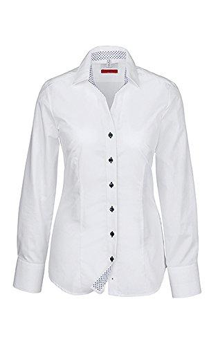 GREIFF Damen-Bluse mit Kent Kragen   V-Ausschnitt  Breite 2-Knopfmanschette   Farbe: Weiß   Größe: 50