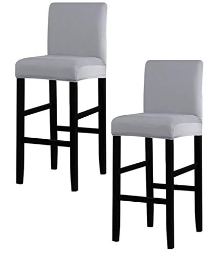 Augld 2PCS Bar Stool Covers Solid Square Counter Height Stool Covers Grey