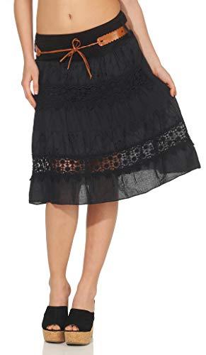 malito dames rok met bloemen borduurwerk | Klok jurk met riem | Zomerrok met kant | Minirok - Rok 16167