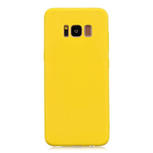 cuzz Funda para Samsung Galaxy S8+{Protector de Pantalla de Vidrio Templado} Carcasa Silicona Suave Gel Rasguño y Resistente Teléfono Móvil Cover-Amarillo