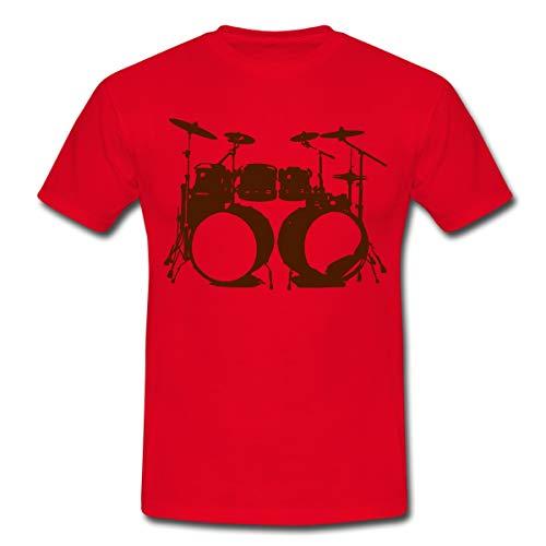 Schlagzeug, Drums, Drummer, Schlagzeuger, Musik, Instrument, Double bass Männer T-Shirt, S, Rot
