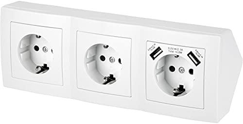 Regleta de 3 enchufes para esquina, con 2 puertos de carga USB, 230 V, 16 A, 3600 W, T1, color blanco