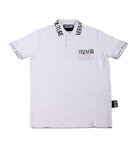 Versace Jeans Couture Herren Polo Poloshirt, Weiß (Bianco Ottico 003), Medium (Herstellergröße: 50.0)