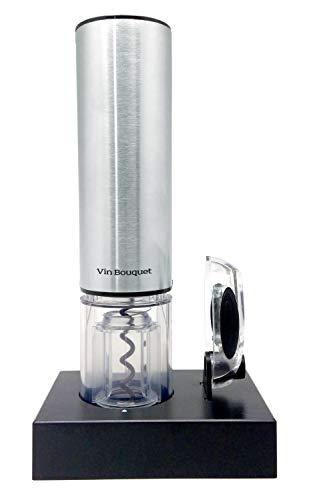 Vin Bouquet Compact FID 003 Sacacorchos Electrico Deluxe, Incluye degollador Base y Cargador, Manganese Steel & ABS, Plata y Negro, 21 x 33.5 x 6.5 cm