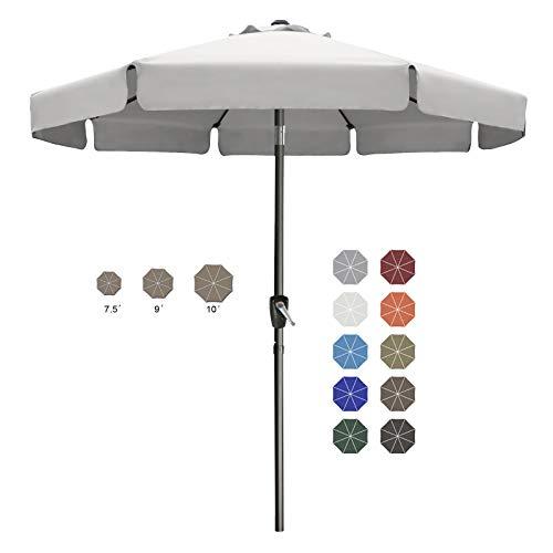 9FT Outdoor Garden Table Umbrella Patio Umbrella Market Umbrella with Push Button Tilt for Pool Deck,Backyard and Garden. 13+Colors,8 Ribs Wave Edge,(Light Gray)