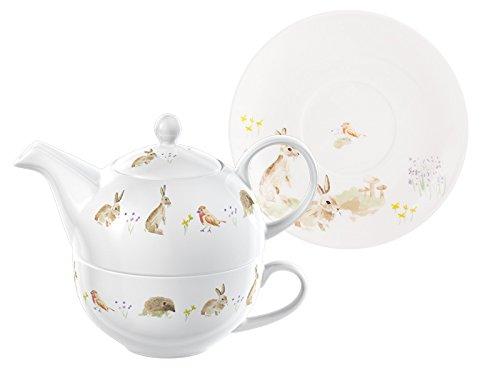 National Trust New Forest Toile Tea for One, Teiera e Tazza, in Ceramica, Colore: Beige, 2 Pezzi