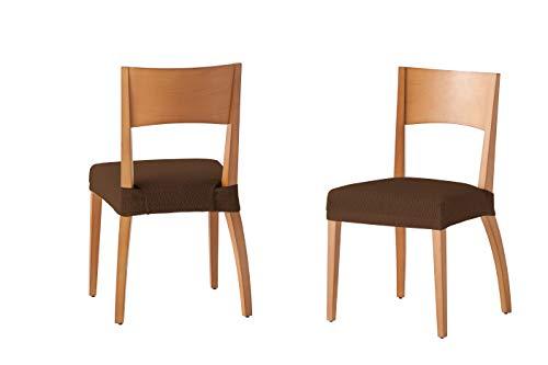 Martina Home Tunez - Funda para Silla, Tela, Funda silla asiento, Marrón, 24 x 30 x 6 cm, 2 Unidades