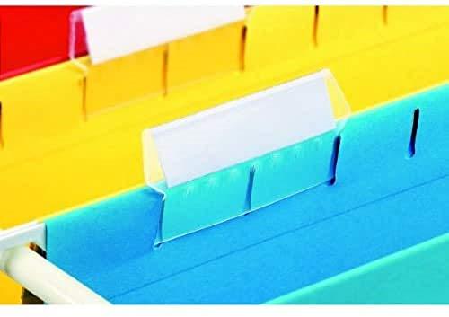 Esselte Portaetiquetas de recambio con etiqueta para carpetas colgantes, Plástico, Transparente, 5 cm de largo, Classic, 94514, Bolsa de 25