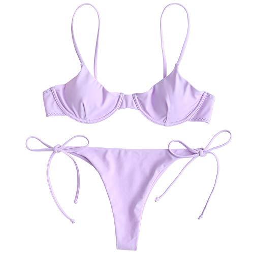 ZAFUL Damen Bügel Push Up Balconette Tie Side String Bikini Set Badeanzug(Lila,M)