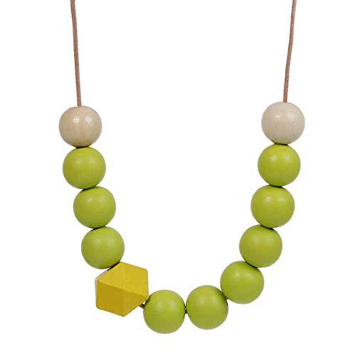 Miniblings Bola de la Cadena Collar de Madera de Las Bolas de Madera de Cuero Formas geométricas