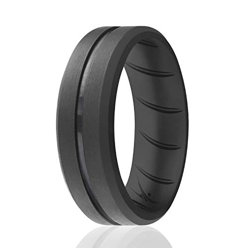 ROQ Silicone Rings, Breathable Silicone Rubber Wedding Ring Band for Men with Comfort-Fit Design, 8mm Engraved Middle Line, Single, Silicone Wedding Ring - Grey Color - Size 12