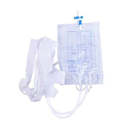 LLSL Urinaria Bolsa de Drenaje, Silicona Transparente / 2000 ml Bolsa de Drenaje/Urinario Bolsa con Anti válvula de retención/Envejecido para los Pacientes del Hospital catéter nocturnos/Bolsa