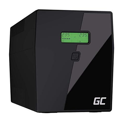 Green Cell® UPS USV Unterbrechungsfreie Stromversorgung 2000VA (1400W) mit Überspannungsschutz 230V Line-Interactive AVR Pure Sine Wave Power Supply USB/RJ45 2X Schuko 2X IEC Ausgänge LCD Bildschirm