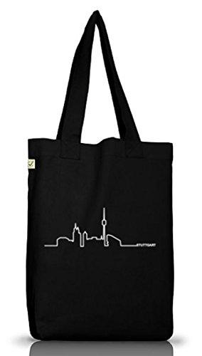 Shirtstreet24, Skyline Stuttgart, Benz Town Jutebeutel Stoff Tasche Earth Positive (ONE SIZE), Größe: onesize,Black