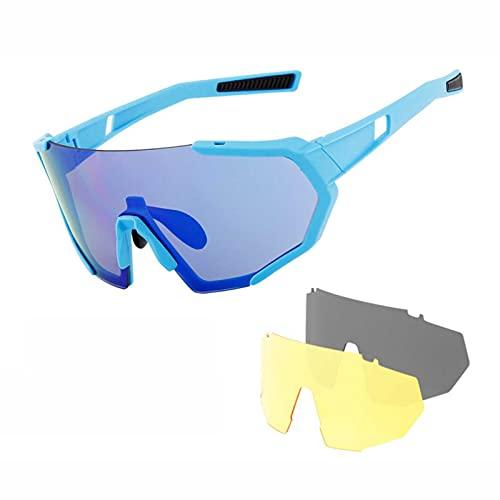 QHWJ Gafas de Ciclismo Gafas de Sol Deportivas polarizadas con 3 Lentes, protección contra UV Gafas de Ciclismo al Aire Libre para Alpinismo, Senderismo u Otras Actividades al Aire Libre,F