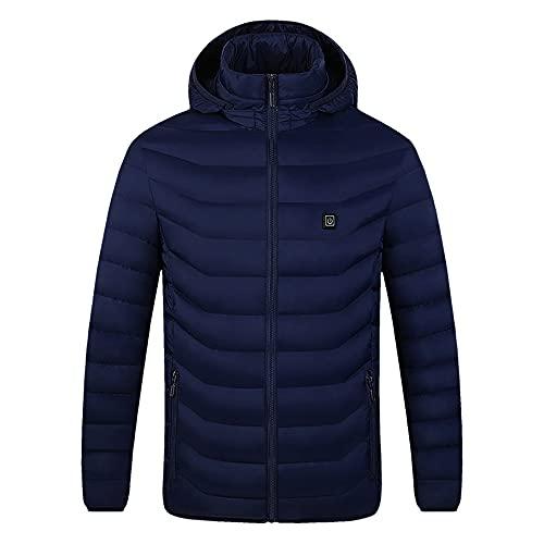 Veste chauffante électrique à capuche 2 zones en coton pour l'extérieur - USB - Chauffage électrique à capuche, bleu, XXX-Large