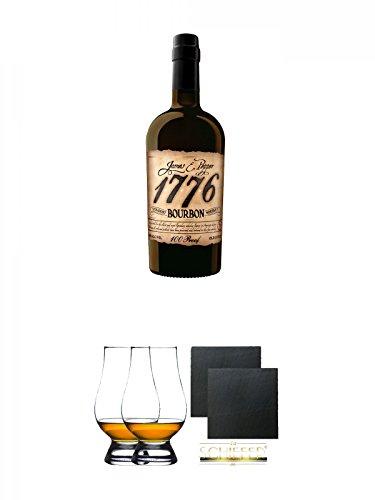 1776 Straight Bourbon Whiskey 0,7 Liter + The Glencairn Glass Whisky Glas Stölzle 2 Stück + Schiefer Glasuntersetzer eckig ca. 9,5 cm Ø 2 Stück