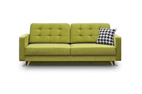 Schlafsofa Kippsofa Sofa mit Schlaffunktion Klappsofa Bettfunktion mit Bettkasten Couchgarnitur Couch Sofagarnitur - CARLA (Grün)