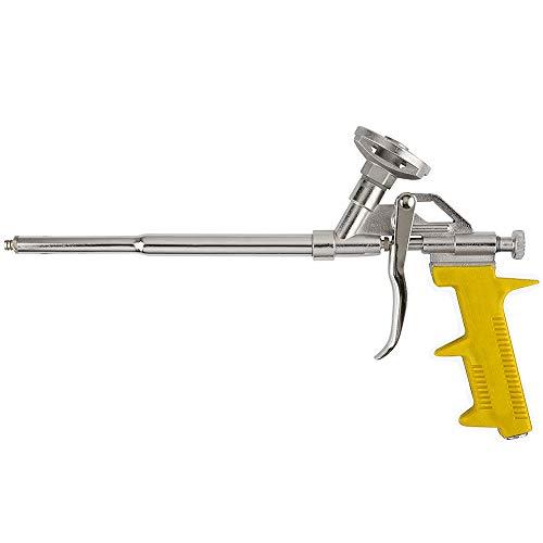 FUSIYU Pistola Espuma,Pistola de Espuma de Poliuretano,Pistola de Calafateo con Pulverización Manual,Carcasa de Metal con Mango de Plástico Amarillo