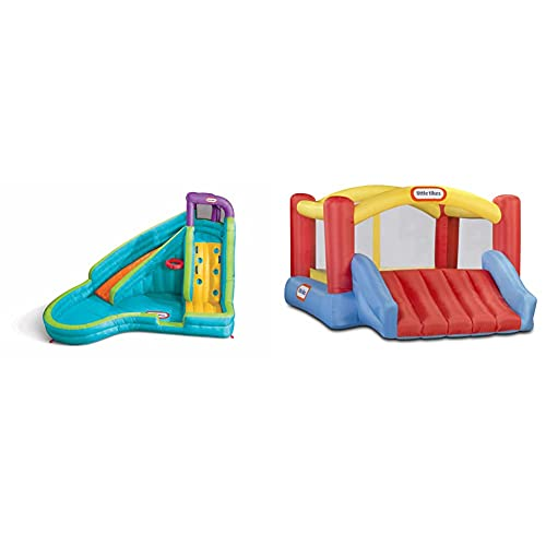 Little Tikes Slam 'n Curve Slide, Multicolor & Jump 'n Slide Bouncer - Inflatable Jumper Bounce House Plus Heavy Duty Blower 106.2 Inch x 137.7 Inch x 65.7 Inch Ages 3-8 Years