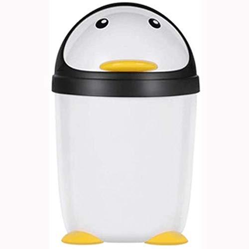 Basura Can Pingüino Pingüino Caja de Sabor Linda niña Creative Dormitorio Basura Can Dibujos Animados Moda Cama Baño Sala de Estar Cocina Bandeja Bandeja (Size : Large)