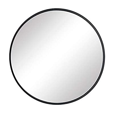 FANYUSHOW Modern Metal Wall Mirror, Brushed Framed Round Mirror, Wall-Mounted Mirror, Home Mirrors Decor, for Bathroom, Living Rooms, Entryways(Black, 20Inch)