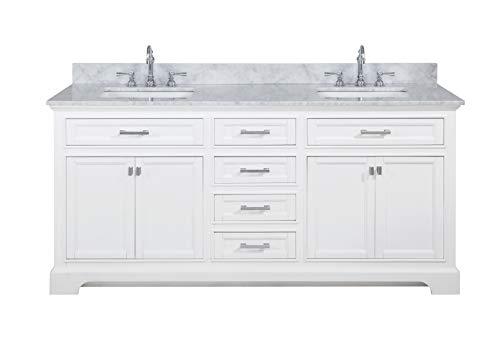 "Design Element ML-72-WT Milano 72"" White Bathroom Vanity with Double Sink Carrara Marble Countertop"