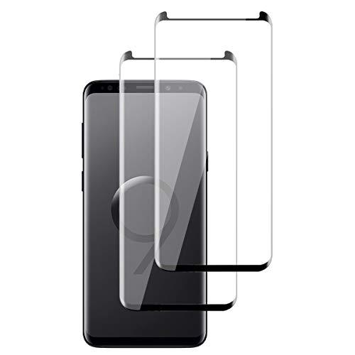 OUJD [2 Piezas] Protector de Pantalla para Samsung Galaxy S9 Plus, Transparente HD Film Cristal Templado Protector de Pantalla, 9H Dureza Sin Burbujas Anti-Arañazos - Negro