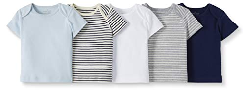 Moon and Back by Hanna Andersson Baby 5-Pack Organic Cotton Lap Neck Crew Tee, Navy, Newborn
