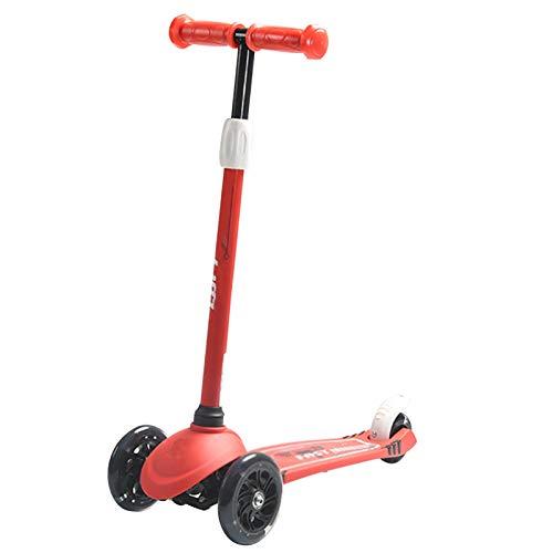 Patinetes para niños Scooter de Tres Ruedas con Pedales, manillares Ajustables, Scooter de niños pequeños, con Ruedas de Flash PU (Color : Red)