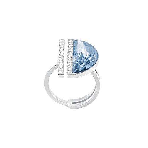 Swarovski GLOW 5294969 - Anillo para mujer, acero inoxidable rodiado, cristal azul, talla 51 (16,2)